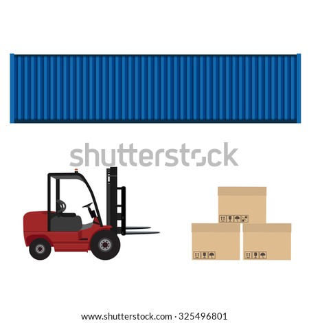 Loader car, blue cargo container and three carton boxes with shipping symbols raster illustration. Delivery service. Delivery icon set - stock photo