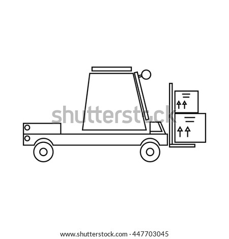 Loader icon in outline style isolated on white background. Cargo delivery symbol - stock photo