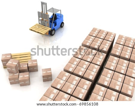 loader in warehouse with pallet - stock photo