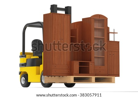 Loader Lift Living Room Wall Unit on a white background. 3d rendering