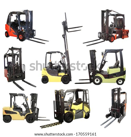 Loaders isolated under the white background - stock photo