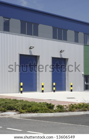 Loading bays of an industrial building unit or warehouse. - stock photo
