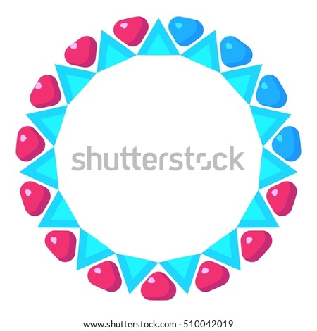 Loading circle with pink and blue hearts icon. Cartoon illustration of  icon for web