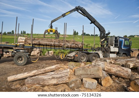 loading firewood with the truck crane - stock photo