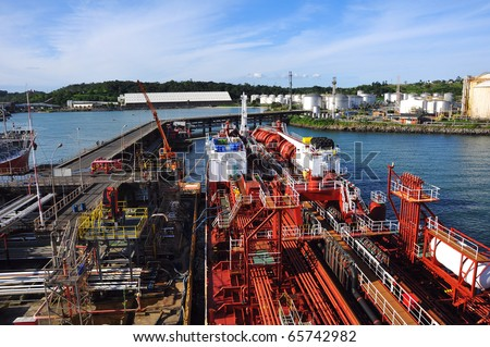 loading of chemical tanker - stock photo
