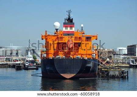 loading of chemical tanker in port - stock photo