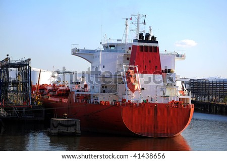 loading of chemical tanker in the port - stock photo