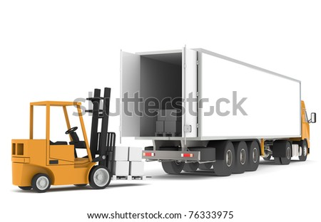 Loading the Truck.Forklift loading a Trailer. Part of warehouse series. - stock photo