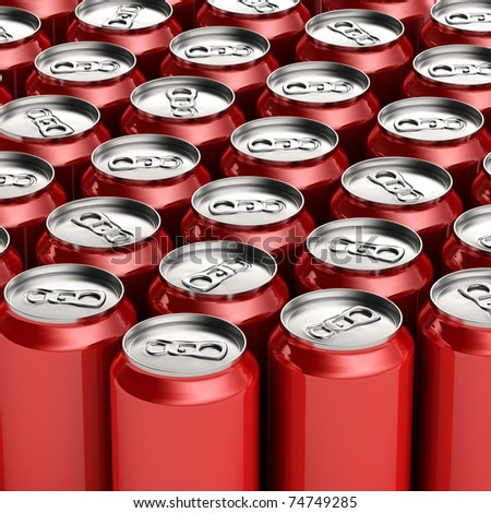 Loads of unopened red soda cans - stock photo