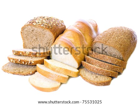 loaf and slices of whole rye bread, white long loaf,   isolated on white background - stock photo