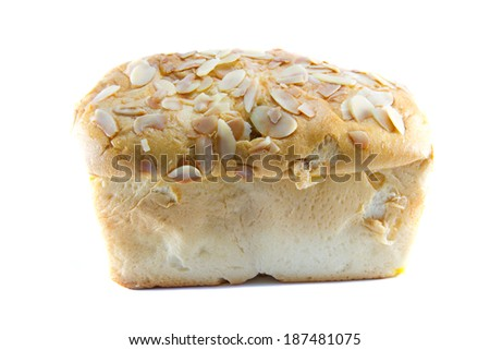 Loaf bread homemade on a white background.