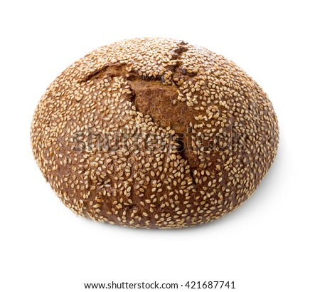 Loaf of black bread with sesame isolated on white background. - stock photo