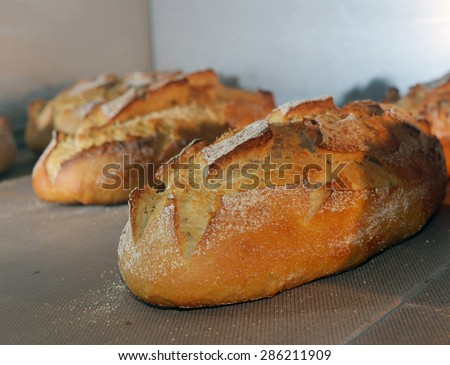 loaf of bread is baked in the oven - stock photo