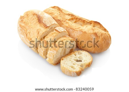 Loaf of bread isolated on white, clipping path included - stock photo