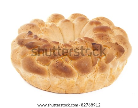 loaf of bread on a white background - stock photo