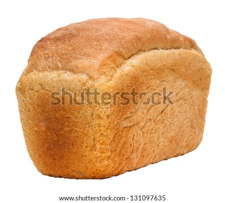 loaf of bread russian isolated on white background clipping path - stock photo