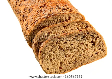 loaf of bread sliced isolated in white - stock photo