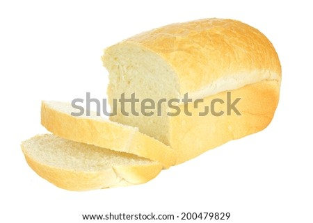 Loaf of bread with think cut slices isolated on a white background   - stock photo