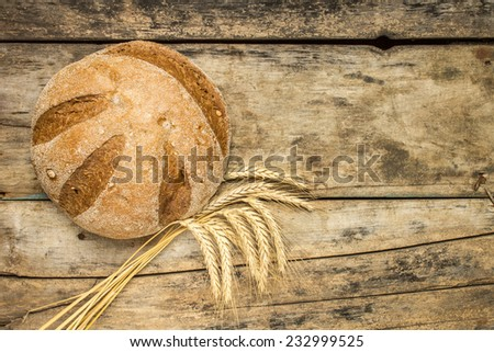 Loaf of bread with wheat ears on wood background - stock photo