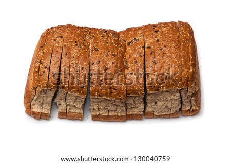 Loaf of brown bread isolated on a white studio background.