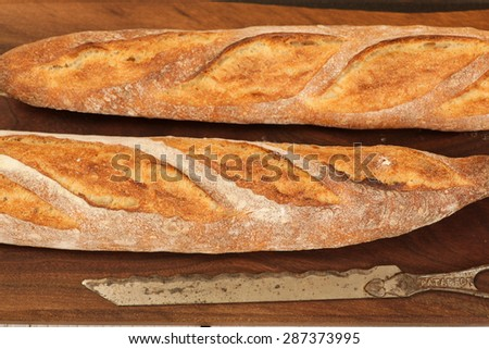 Loaf of french bread on a cutting board - stock photo