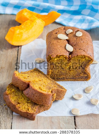 Loaf of fresh baked homemade pumpkin bread  - stock photo