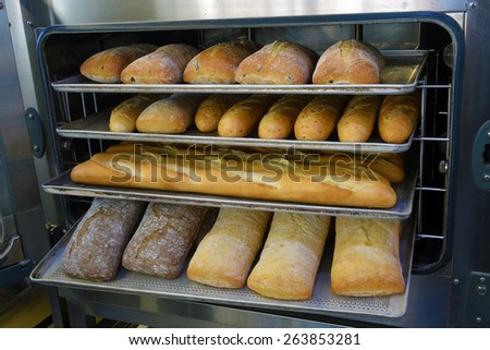 loaf of freshly baked bread from the oven in a modern bakery - stock photo