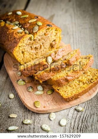 Loaf of pumpkin bread - stock photo