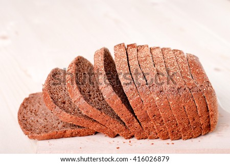 loaf of sliced bread - stock photo