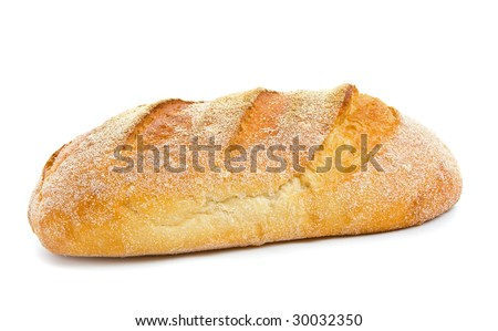 Loaf of sour dough bread isolated over white background. - stock photo