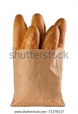 loaf of white bread, packaged in a paper bag on white background - stock photo