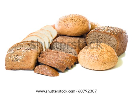 loafs of whole wheat and  rye bread isolated on white background - stock photo