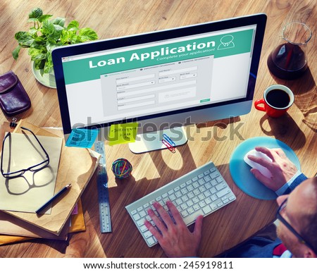 Loan Application Bank Finance Money Businessman Concept - stock photo