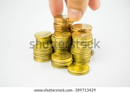 Loan Finance Concepts, hand holding coins