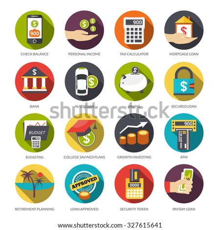 Loan flat icons set with check balance personal income tax calculator isolated  illustration - stock photo