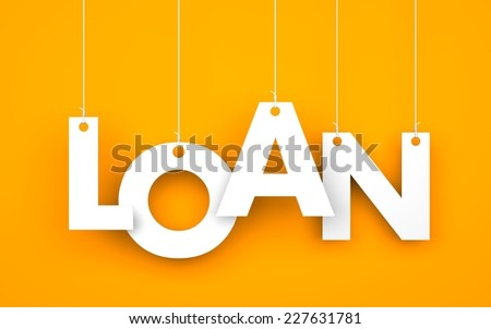 Loan. Text on the ropes - stock photo