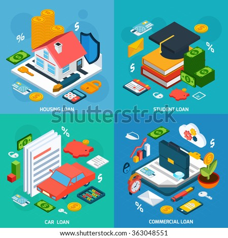 Loans Isometric Set - stock photo