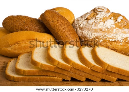loaves of bread isolated over white background. - stock photo