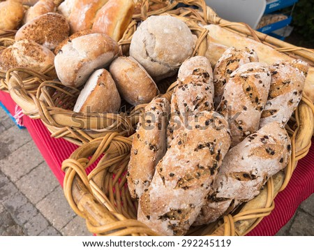Loaves of Organic Bread for sale at outdoor farmers market