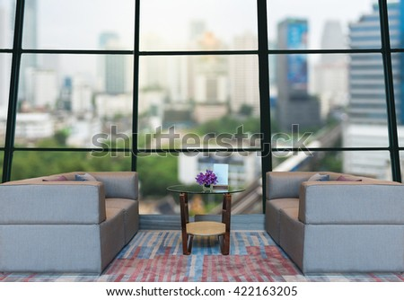Lobby area of a hotel which can see abstract Blurred photo of cityscape background,Business financial concept, dicut and retouch each elements - stock photo