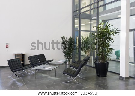 Lobby in a modern office building - stock photo