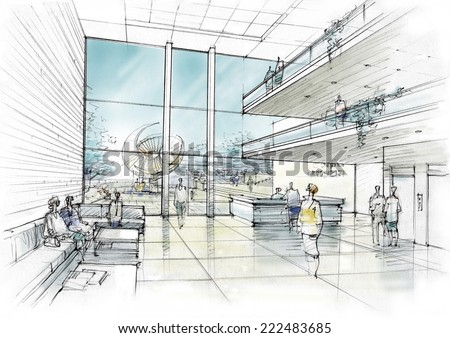 lobby in the office - stock photo