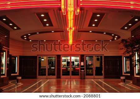 Lobby of a vintage movie theater in Sacramento, California