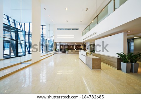 Lobby of business building - stock photo