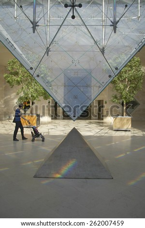 Lobby of the Louvre Museum, Paris, France - stock photo