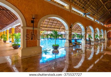 lobby of the luxury caribbean tropical hotel resort reception area interior design