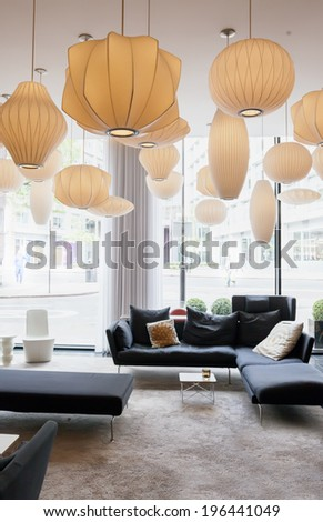 lobby room in modern hotel  - stock photo