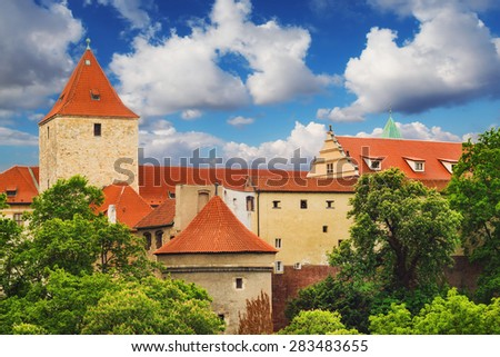 Lobkowicz Palace and Daliborka tower in Prague, Czech Republic - stock photo