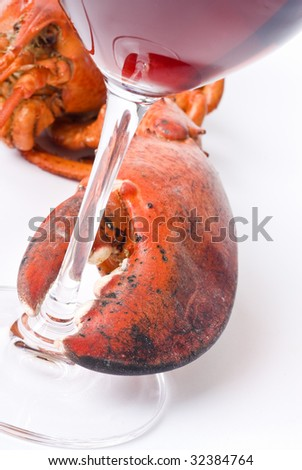 Lobster and Wine - stock photo