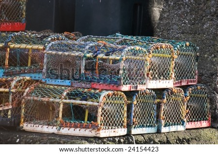Lobster baskets - stock photo